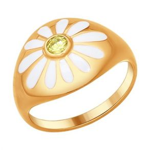 Кольцо из золочёного серебра с эмалью с фианитом «Ромашки» 93010571 SOKOLOV