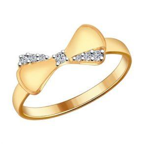 Кольцо из золочёного серебра с фианитами 93010541 SOKOLOV