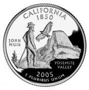 25 центов США 2005г - Калифорния, UNC - Серия Штаты и территории P