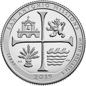 Национальный исторический парк миссий Сан-Антонио (Техас) 25 центов США 2019 ДворS