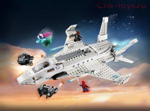 Конструктор Lari Супер Герои Реактивный самолёт Старка и атака дрона 11315 (76130) 528 дет