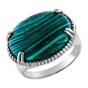 Кольцо из серебра с малахитом 94010162 SOKOLOV