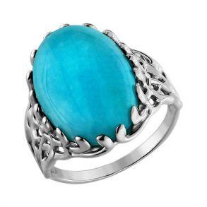 Кольцо из серебра с зелёной бирюзой 94010164 SOKOLOV