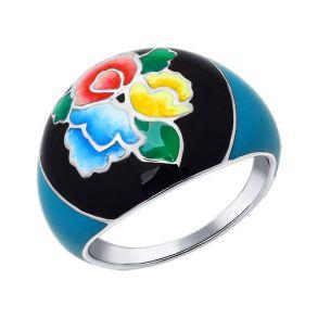 Серебряное кольцо в духе Жостовской росписи 94011166 SOKOLOV