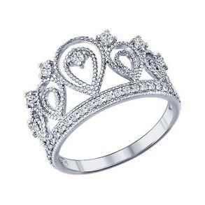 Кольцо «Корона» из серебра с фианитами 94011215 SOKOLOV