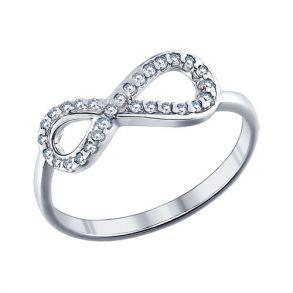 Кольцо бесконечность из серебра с фианитами 94011256 SOKOLOV