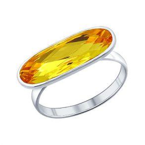 Кольцо из серебра с жёлтым кристаллом swarovski 94011360 SOKOLOV