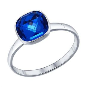 Кольцо из серебра с синим кристаллом swarovski 94011372 SOKOLOV