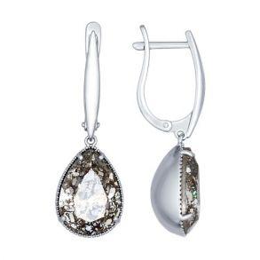 Серьги из серебра с чёрными кристаллами Swarovski 94022222 SOKOLOV