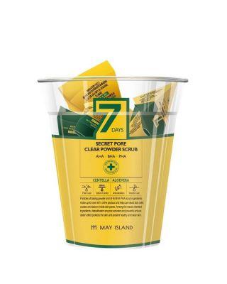 Скраб для глубокого очищения пор с экстрактом алоэ и центеллой May Island 7 Days Secret Pore Clear Powder Scrub 12шт*5г