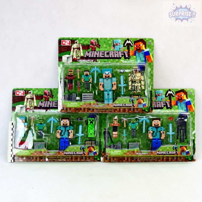 Minecraft фигурка 1герой большой+3героя+аксессуары (№JL15911-2)