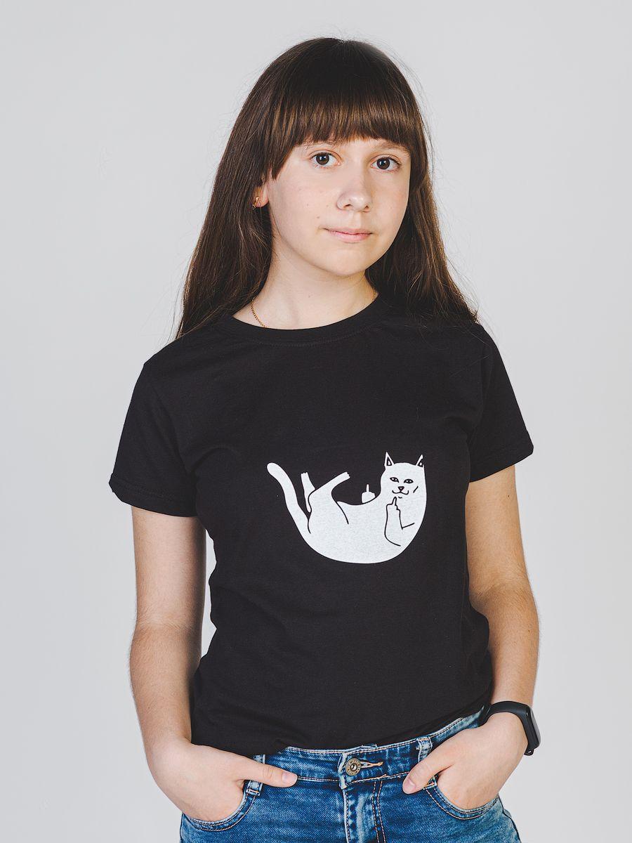 Белый кот футболка женская