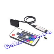 Мини RGB Контроллер 12В с RF пультом 17 кнопок 12A (12-24V,144-288W)