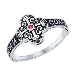 Кольцо из чернёного серебра с фианитом 95010104 SOKOLOV