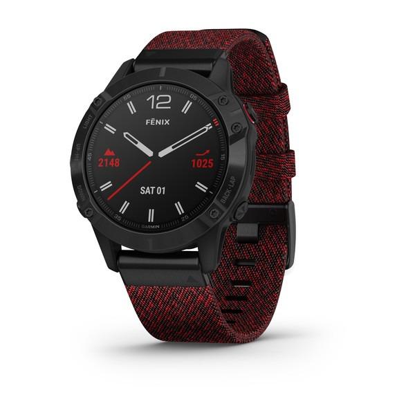Часы Garmin Fenix 6 Sapphire черный DLC с плетеным красно-черным нейлоновым ремешком