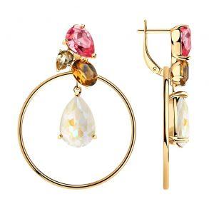 Серьги из серебра с белыми, жёлтыми, коричневыми и розовыми кристаллами Swarovski 93020950 SOKOLOV