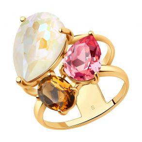 Кольцо из серебра с белым, коричневым и розовым кристаллами Swarovski 93010827 SOKOLOV