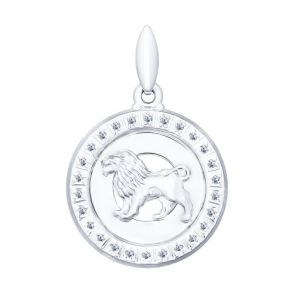 Серебряная подвеска «Знак зодиака Лев» 94031387 SOKOLOV