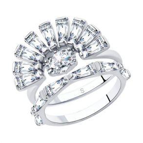 Кольцо из серебра с фианитами 94013053 SOKOLOV