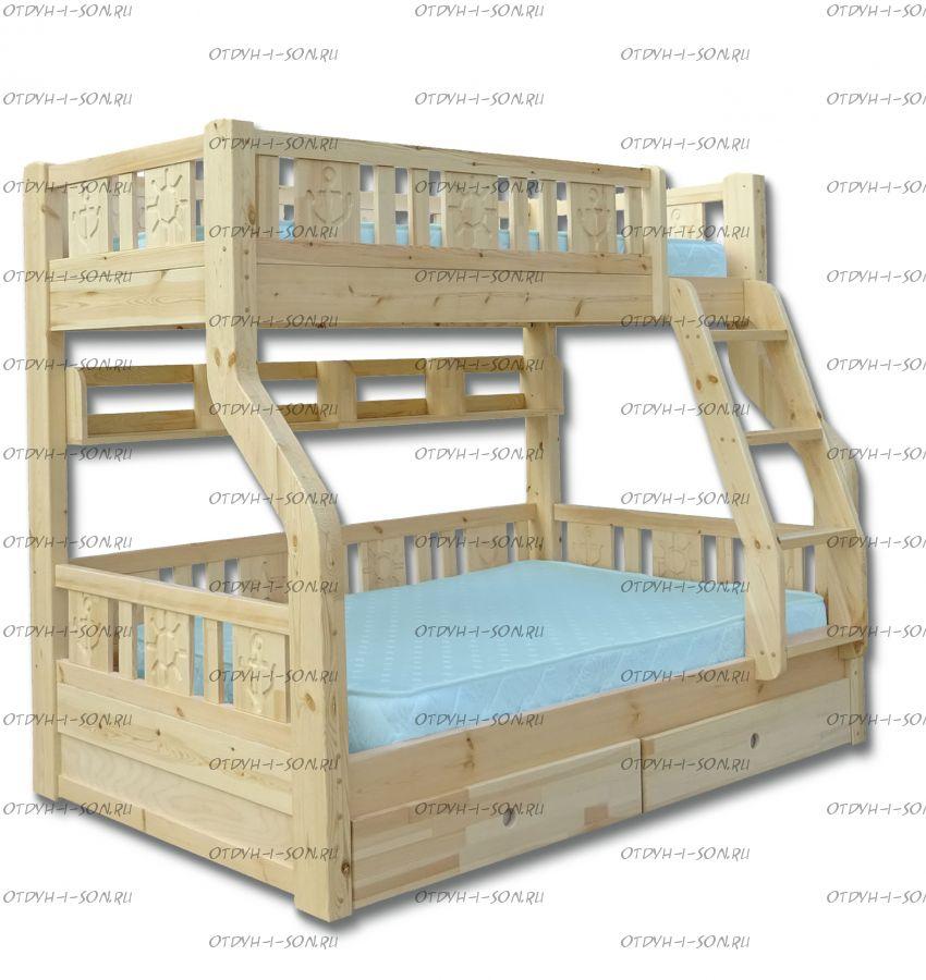 Кровать двухъярусная Ольга Стандарт с ящиками