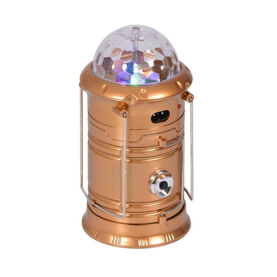 Складной кемпинговый фонарь с диско-шаром 4 в 1, 19 см золотой