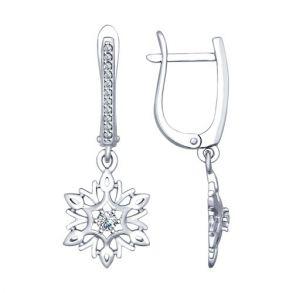 Серьги «Снежинки» из серебра 94022570 SOKOLOV