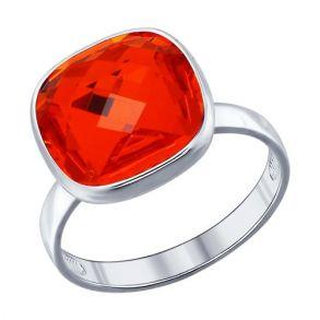 Кольцо из серебра с оранжевым кристаллом swarovski 94011876 SOKOLOV