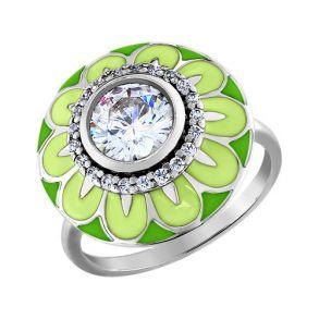 Кольцо из серебра с эмалью с фианитами 94010985 SOKOLOV