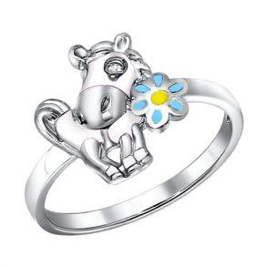 Кольцо из серебра с эмалью с фианитом 94011055 SOKOLOV