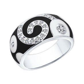 Кольцо из серебра с эмалью с фианитами 94010397 SOKOLOV