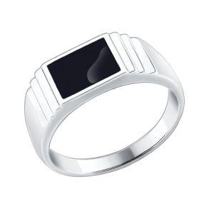 Печатка из серебра с эмалью 94010432 SOKOLOV