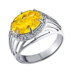 Кольцо из серебра с жёлтым фианитом 94010590 SOKOLOV
