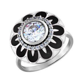 Кольцо из серебра с эмалью с фианитами 94010982 SOKOLOV