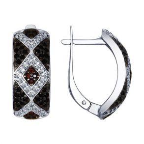 Серьги из серебра с бесцветными, коричневыми и чёрными фианитами 94022549 SOKOLOV