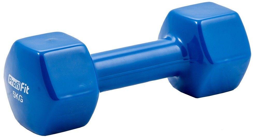 Гантель в виниловой оболочке PROFI-FIT 5 кг, форма шестигранник, синий
