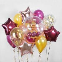 Облако из воздушных шаров, вишневые звезды и баблс  с надписью