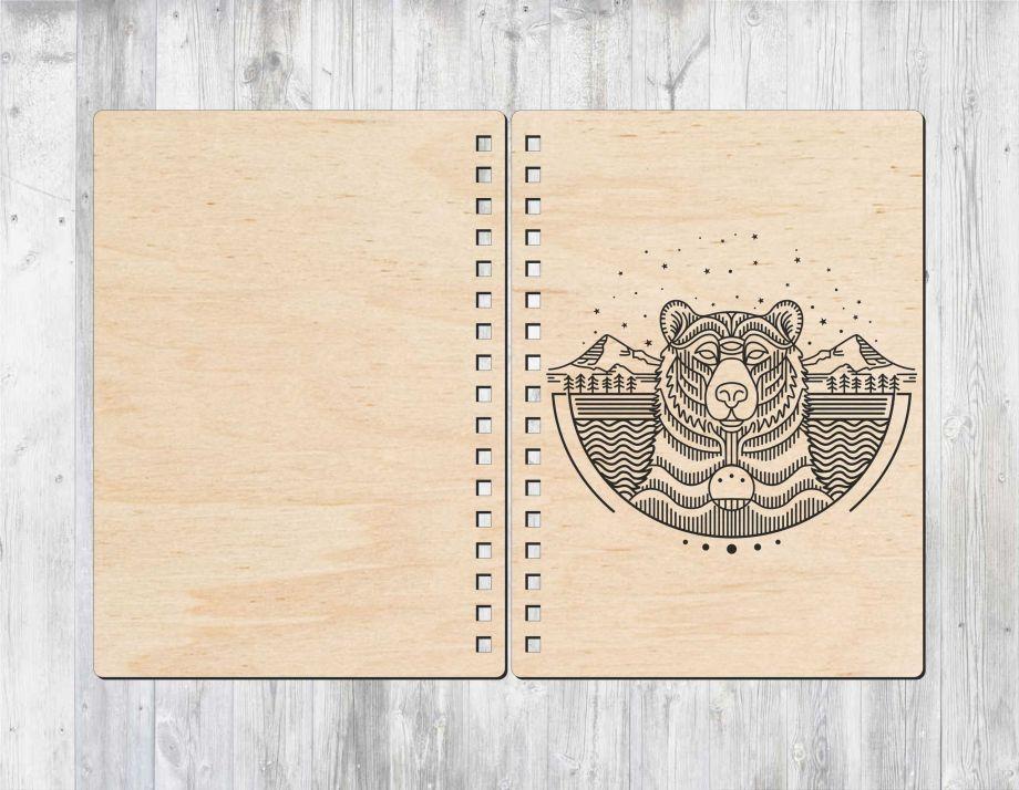 Блокнот с деревянной обложкой с медведем