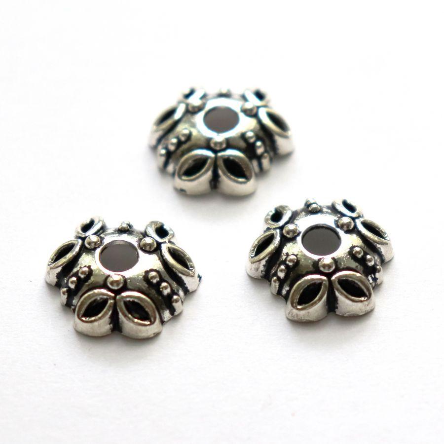 Шапочки для бусин № 68, литая, тиб.серебро, 10мм, 7 шт/упак
