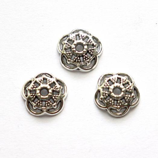 Шапочки для бусин № 69, чеканка, тиб.серебро, 12мм, 20 шт/упак
