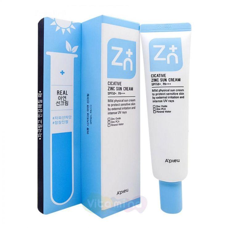 A'Pieu Солнцезащитный крем с цинком Cicative Zinc Sun Cream SPF50+ РА++, 40 мл