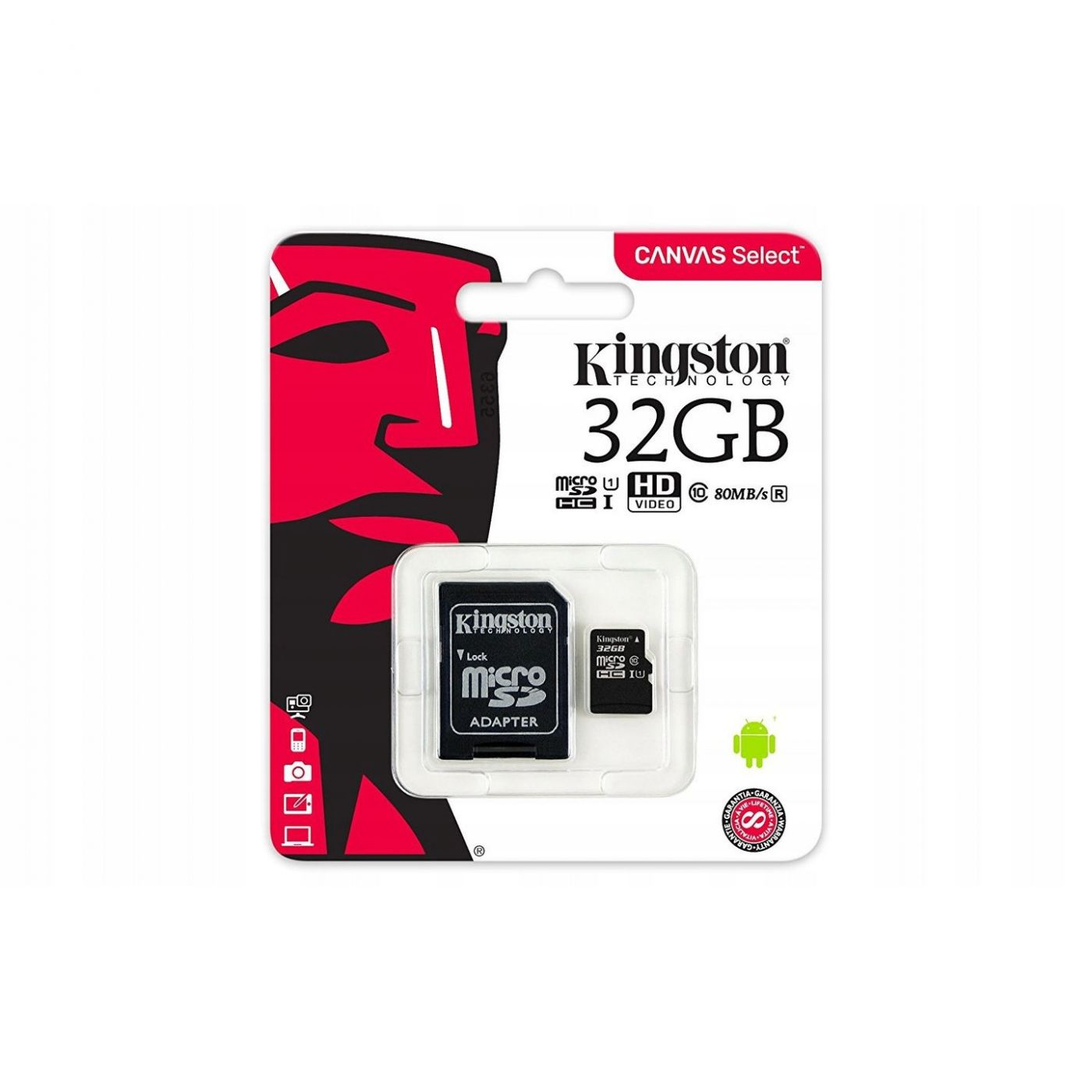 Карта памяти Kingston MicroSD 32Gb Class 10 UHS-I (80 Mb/s) с SD адаптером