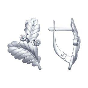 Серьги из серебра с фианитами 94022586 SOKOLOV