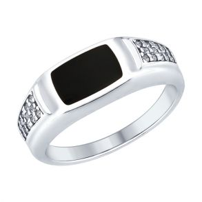 Кольцо из серебра с эмалью и фианитами 94012410 SOKOLOV