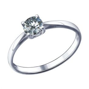 Помолвочное кольцо из серебра с фианитом 94011490 SOKOLOV