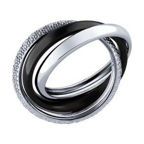 Кольцо тройное из серебра с керамической вставкой и фианитом 94011640 SOKOLOV