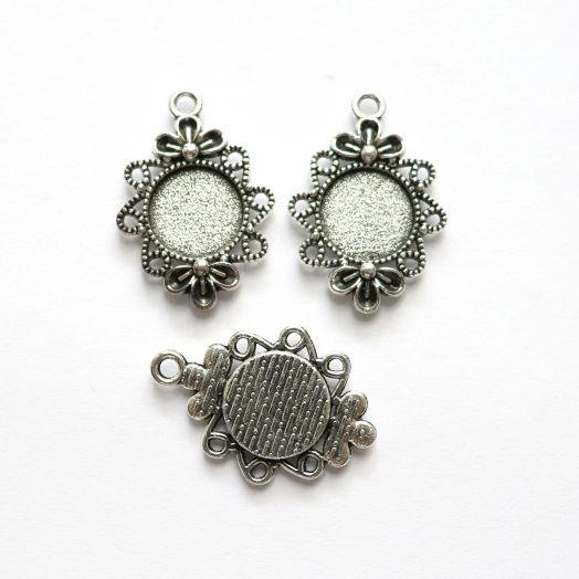 Рамка сеттинг, №10, тибетское серебро, 2 шт/упак