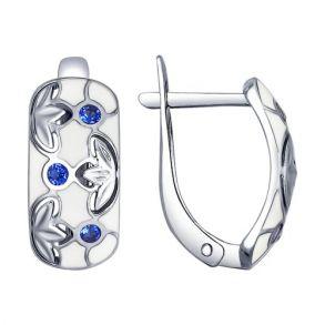Серьги из серебра с фианитами 94022627 SOKOLOV