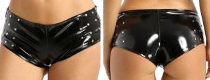 шорты с заклепками лак иск. кожа, размер M, L, модель 532
