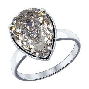 Кольцо из серебра с чёрным кристаллом Swarovski 94012037 SOKOLOV