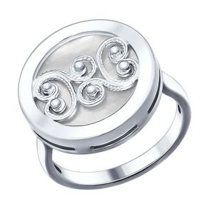 Кольцо из серебра с белым перламутром 94012049 SOKOLOV